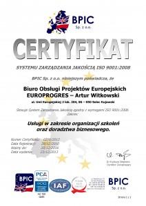 Certyfikat ISO 9001-2008 - EUROPROGRES